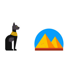 Flat design egypt pyramid travel icon vector