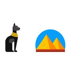 flat design egypt pyramid travel icon vector image vector image