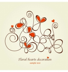 floral hearts vector image vector image
