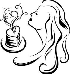 Girl enjoying aroma of coffee vector image vector image