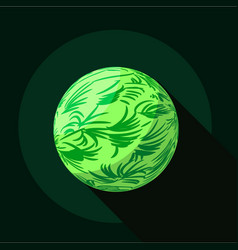 Green planet icon flat style vector