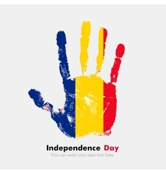 Handprint with the romanian flag in grunge style vector