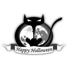 Holloween black cat and moon vector