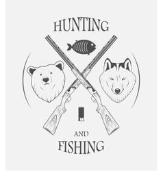 hunting and fishing logo vector image