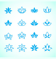 Lotus flower logo assorted icons set vector