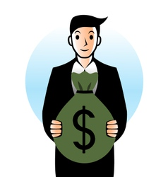 Man with bag of money vector image