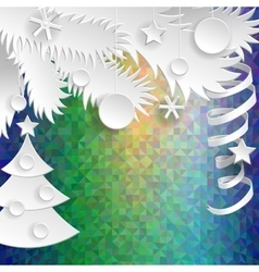 New Year decoration Paper objects on psychodelic vector image vector image