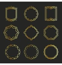 Outline golden emblems and badges frames vector image vector image