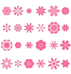 pink flowers set vector image vector image