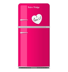 Pink retro fridge with paper note vector image vector image