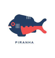 Piranha sea carnivorous fish geometric flat style vector