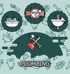 Plumbing flat concept icons vector