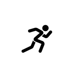 running man icon white black silhouette vector image