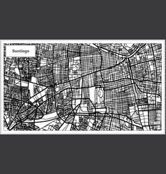Santiago chile city map in black and white color vector