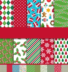 Set of 10 Seamless Bright Christmas Patterns vector image vector image