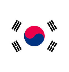 south korea flag flat style vector image vector image