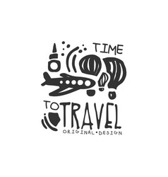 time to travel logo with plane and air balloon vector image