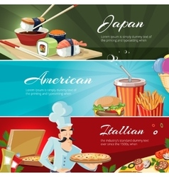 Traditional cuisine of america japan and vector