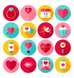 Valentines Day Love Flat Icons vector image