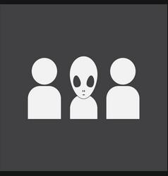 White icon on black background aliens silhouettes vector