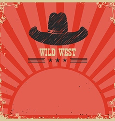 Wild west cowboy background red card vector image vector image