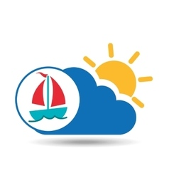 Summer vacation design sailing boat icon vector