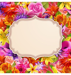Card on flowers vector