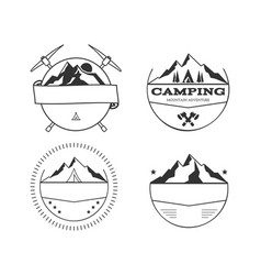 Set of blank vintage summer camp badges and vector