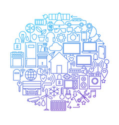 Smart house line icon circle design vector