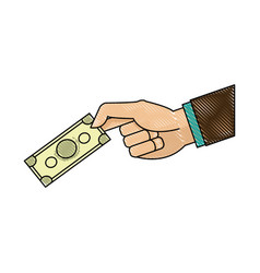 Drawing hand man business with banknote money vector