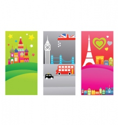 European travel destination banners vector