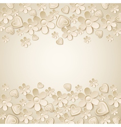 Beige valentine background with many flowers vector
