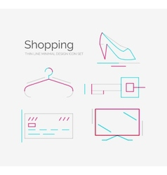 Outline design shopping icon set vector