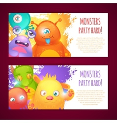 Monsters horizontal banners vector