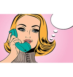 Pop art cute retro woman in comics style talking vector