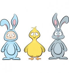 Easter characters set vector