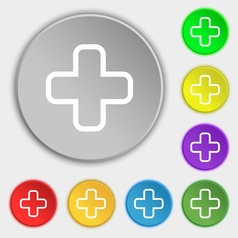Plus icon sign symbol on eight flat buttons vector