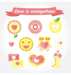 Love is cute icon and symbols set vector