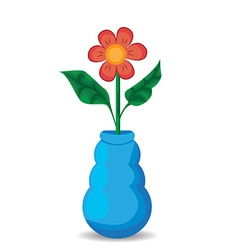 Flowers and vase composition isolated on white vector