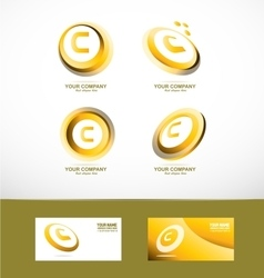 Letter c gold circle set icon vector