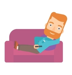 Man sitting on the couch with remote control vector