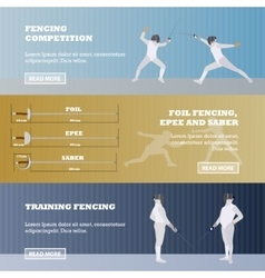 Set of sport fencing banners games vector