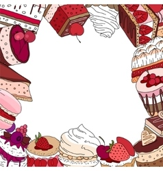 Square template with different desserts vector image