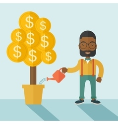 African businessman happily watering the money vector