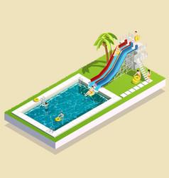 aqua park waterslide composition vector image