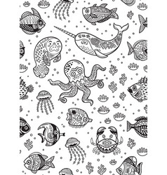 Aquatic animals seamless pattern for children vector