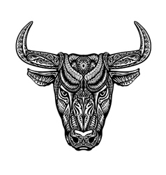 Bull taurus buffalo painted tribal ethnic vector image