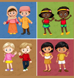Children on four different color background vector