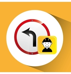 Construction worker road sign graphic vector