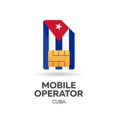 Cuba mobile operator sim card with flag vector